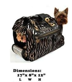 This zebra bronze carrier made with faux leather is large enough to hold two smaller dogs comfortably. Get it now for $160 at the Posh Puppy Boutique.