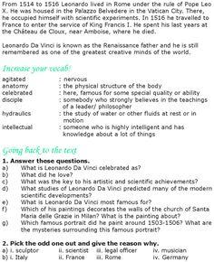 Grade 8 Reading Lesson 11 Biographies Leonardo Da Vinci 2
