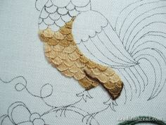 embroidery designs hand stitch/roosters | Rooster Breast and Scallops: A Crewel Recipe – Needle'nThread.com