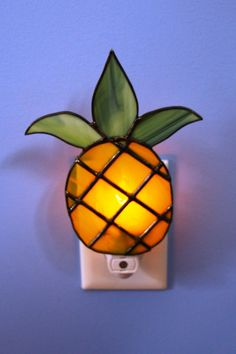 Golden Yellow Pineapple with Dusty Green Leaves Welcome Stained Glass Night Light