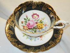 EB Foley Dark Green Gold Pink Rose Yellow Bouquet Wide TEA CUP AND Saucer | eBay