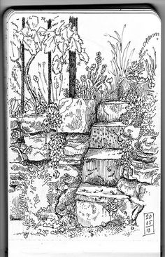 Stairs in natural stone in the garden. Moleskine sketch.