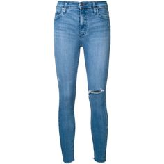 Nobody Denim Cult Skinny Ankle Tonal (545 BRL) ❤ liked on Polyvore featuring jeans, pants, blue, ripped jeans, high waisted ripped jeans, distressed skinny jeans, ripped skinny jeans and destroyed skinny jeans