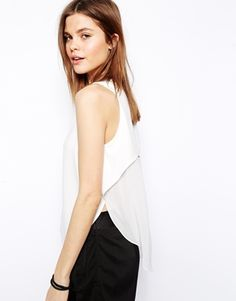 White, flowy asymetric top to wear with a pencil skirt | Asos $36