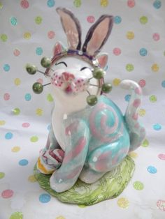 """Eggiweg with Bunny Ears"" one-of-a-kind handmade Easter WhimsiClay cat, so cute!"