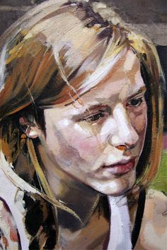 Jo Fraser a fine artist from Scotland. The brush strokes and use of paint give the suggestion of texture. - reference for my portrait series