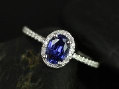 Rosados Box Ultra Petite Federella White Gold Oval Blue Sapphire and Diamonds Halo Engagement Ring for something different- under $1000