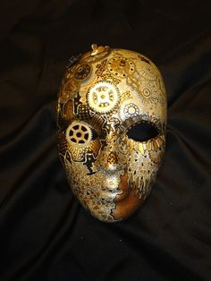 Clockwork Steampunk (OOAK) Painted Mask by mistypinktiger SoldMask features, clock parts,acrylic,oil and gold leaf paints, mouse, button. This face was ins