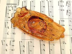 Vintage Victorian Hands Amber Glass Dish Business Card by Cecil2, $11.00