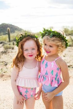 Summer is here! How cute are these bathing suits and flower crowns? I can't wait to adventure this summer with my girls.