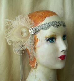 moira flapper headband 1920's headpiece of vintage trim and cruelty free feathers by owllamode