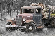 old logging truck
