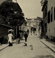 Athens, Plaka, Gate of Athena, Roman agora--down the street from where my Father was born in Maggie Greece Pictures, Old Pictures, Old Photos, My Athens, Athens Greece, Attica Greece, Greece Photography, History Of Photography, Travel Around The World