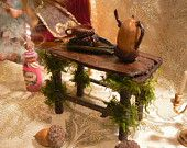Fairy Table with Pitcher and Cups made from Fallen Wood - Handmade - Custom Order 1 Week