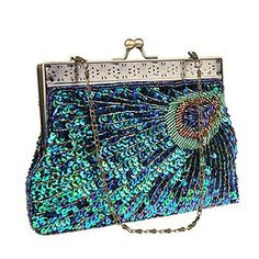 Snug star Popular Fashion Womens Unique Luxury Sequins Beaded Evening Bag Wedding Bridal Party Prom Clutch Evening Bag Clutch Handbag Peacock Blue ** Click image for more details.Note:It is affiliate link to Amazon.