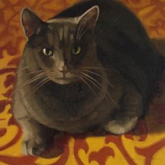 I love her cat paintings with the patterned backgrounds!