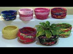 DIY - Cestas de corda e tecido / Baskets ​​of rope and fabric / Cestas de cuerda y la tela - YouTube
