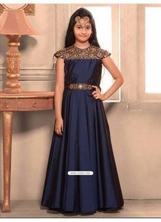 Shop G3 Exclusive navy silk party wear gown online from G3fashion India.  Brand - G3 592fb8ff5