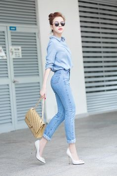 Denim on denim Korean Fashion Trends, Korean Street Fashion, Asian Fashion, Girl Fashion, Fashion Looks, Fashion Outfits, Trendy Summer Outfits, Cute Casual Outfits, Simple Outfits