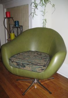 Vintage chair with reupholstered camouflage seat. Vintage Chairs, Egg Chair, Camouflage, Upholstery, Lounge, Furniture, Home Decor, Style, Camo