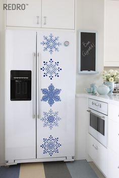 #christmas #snowflake #fridge #decor #redro  #sticker Tall Cabinet Storage, Locker Storage, Kitchen Decor, Fridge Decor, Milk Glass, Snowflakes, Christmas, Sticker, Home Decor