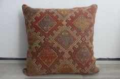 orange cushion kilim pillowking sham by SARIKAYAKILIMPILLOWS