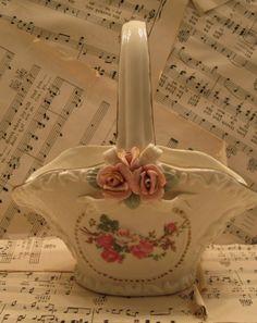 beautiful rose ceramic basket
