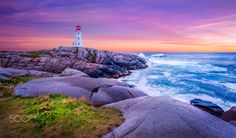 Peggys Cove Dawn by MilesSmithIII Halifax Nova Scotia Peggys Cove beach beautiful blue clouds coast dawn light ocean rocks sea seascap Nova Scotia Travel, Canadian Travel, Canadian Rockies, Atlantic Canada, Prince Edward Island, Dream Vacations, East Coast, Places To Go, Travel Photography