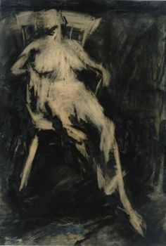 Frank Auerbach Seated Figure , 1961 charcoal and oil on paper laid on board 38 1/2 by 26in.