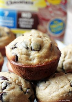 Banana chocolate chip muffins (GF) with Nesquik are a perfect snack! #ad #StirImagination @nesquikusa
