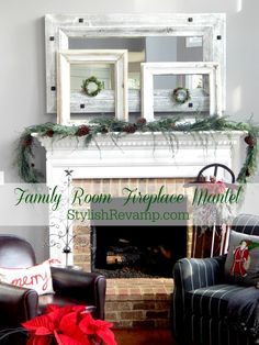 fireplace Christmas Mantel in Family room 2015