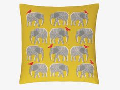 TOPSY YELLOWS Cotton 45 x 45cm yellow elephant patterned cushion - HabitatUK