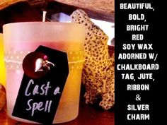 "SOY CANDLE-- ""Cast a Spell""-- 4 oz. Frosted Votive Candle w/ natural polka dot ribbon, chalkboard tag, red accents, & a silver heart charm by TextileandType on Etsy"