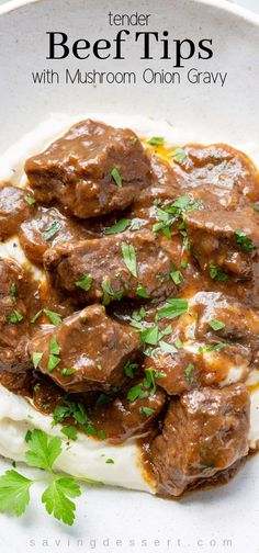 Beef Tips and Gravy with mushrooms and onions is a deliciously tender dish perfect served over fluffy mashed potatoes, buttery noodles or hot cooked rice. beef recipes Beef Tips and Gravy Crock Pot Recipes, Beef Tip Recipes, Beef Recipes For Dinner, Top Recipes, Recipe Tips, Recipes With Beef Cubes, Recipes With Beef Stew Meat, Healthy Recipes, Recipies
