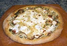 multi grain blue cheese pepperoni pesto pizza
