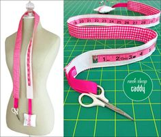 Measuring Tape Neck Strap Sewing Caddy How many of you loop a tape measure around your neck while you're sewing? I'm pretty sure there are a lot of hands up out there! This cute little caddy is designed to capitalize on that habit by turni Sewing Hacks, Sewing Tutorials, Sewing Tips, Sewing Crafts, Tutorial Sewing, Sewing Ideas, Sewing Art, Sewing Rooms, Sewing Basics
