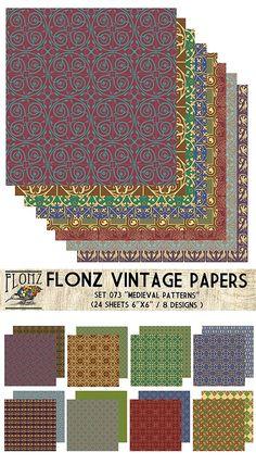 Paper Pack (24sh 15x15cm) Medieval Patterns FLONZ Vintage Paper for Scrapbooking and Craft