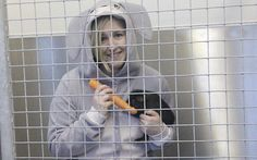 """Emma Purnell plans to spend 48 hours in a cramped enclosure eating only   carrots and muesli, to illustrate the """"miserable"""" fate of rabbits   kept in hutches"""