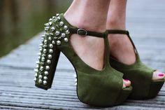 Army green studded platforms http://bit.ly/Jo3MYH