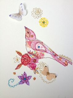 Original Art-Sewn and collage bird and butterfly-bright colours