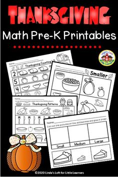 Thanksgiving math printables for preschool reinforce preschool math concepts such as counting, ordering by size, patterning and more. Use Thanksgiving math worksheets in preschool for morning work, small group instruction, or distance learning. #thanksgivingmathpreschool #thanksgivingmathworksheets