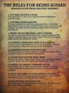 The Rules for Being Human handed down from ancient Sanskrit