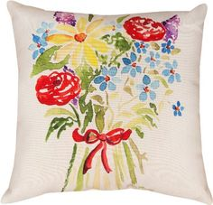 Manual Woodworkers and Weavers Reversible Indoor/Outdoor Decorative Square Throw Pillow by Julia Minasian, 18-Inch, Spring Bouquet in Red by Manual Woodworker, http://www.amazon.com/dp/B00D08WFS4/ref=cm_sw_r_pi_dp_olZ1rb1D4AMGC