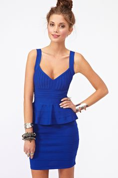 Peplum Bandage Dress - Blue