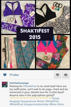 Packing for #ShaktiFest is no small task! Here are my outfit picks, can't wait to do yoga, chant and be immersed in pure, blissful love for 3 solid days!! Anyone else in the yogi-sphere going?! ✨✨✨✨✨✨✨✨✨✨✨✨✨ #yoga #yogagirl #yogaretreat #kirtan #ShaktiFes