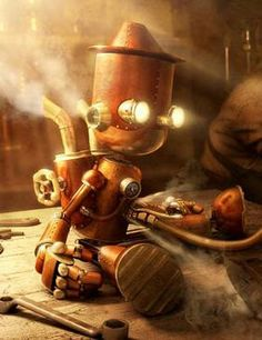 Steampunk robot, a tiny construct character from a #steampunk #fantasy setting