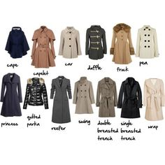 A visual Coat glossary (for women) Via More Visual Glossaries: Backpacks / Bags / Hats / Belt knots / Coats / Collars / Darts / Dress Silhouettes / Hangers / Harem Pants / Heels / Nail shapes / Necklaces / Necklines / Puffy Sleeves / Shoes / Shorts / Silhouettes / Skirts / Tartans / Vintage Hats / Waistlines / Wool