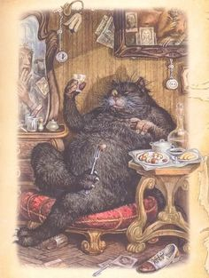 Vasily Glushenko and some other artists made a series of illustrations for the novel 'The Master and Margarita' by Mikhail Bulgakov (images). Cat Roll, Russian Cat, The Master And Margarita, Funny Art, Cat Art, Fairy Tales, Illustration Art, Book Illustrations, Daisies