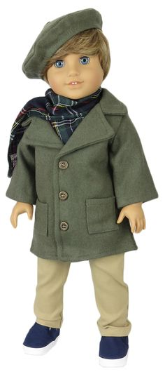 ad4fca2b9 American Boy Doll Clothes Outfit. Silly Monkey - Coat, Tam, Plaid Scarf,  and Tan Pocket Pants, $24.99…