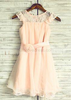 Blush Pink Lace Chiffon Knee Length Flower Girl Dress